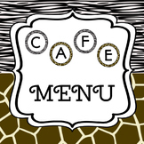CAFE menu zoo/safari themed - regular and emergent versions