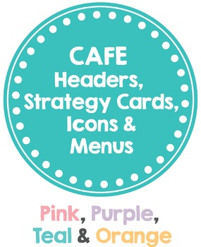 CAFE posters in a PASTEL theme (Headers, Strategy Cards, Icons & MENUS)