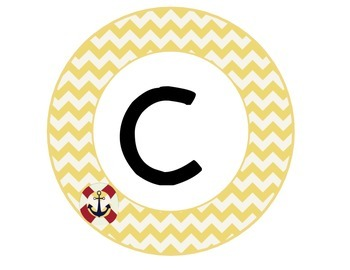 CAFE sign nautical chevron