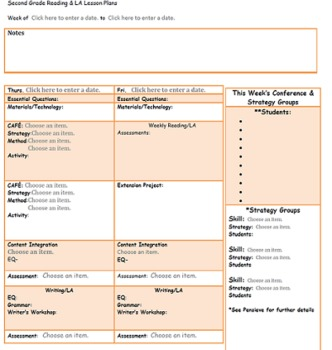 CAFE/Common Core Second Grade Reading Lesson Plan Template