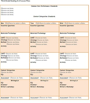 CAFE/Common Core Third Grade Reading Lesson Plan Template