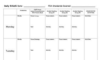 CAFE/Daily 5 Lesson Plan Template