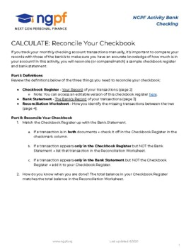 CALCULATE: Reconcile Your Checkbook