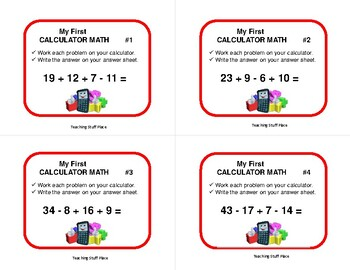 First CALCULATOR MATH | Multi-step | Task Cards | FUN | Gr. 4-5 Problems