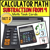 """CALCULATOR MATH Task Cards – Subtracting From 9 """"Task Box Filler"""" for Autism"""