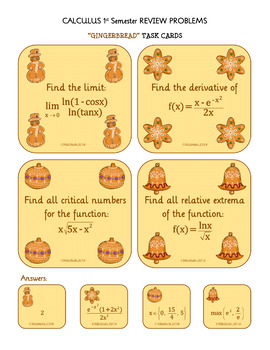 """CALCULUS 1st Semester REVIEW - """"Gingerbread Task Cards"""" Christmas FREEBIE"""