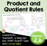 Calculus Product and Quotient Rules with Lesson Video (Unit 2)