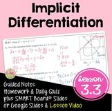 Calculus Implicit Differentiation with Lesson Video (Unit 3)
