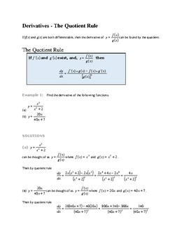 CALCULUS : FINDING A DERIVATIVE BY USING THE QUOTIENT RULE