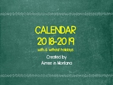 CALENDAR 2018-2019 WITH & WITHOUT HOLIDAYS