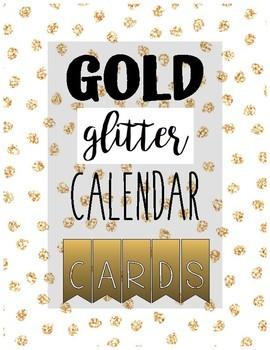 CALENDAR CARD SET gold glitter