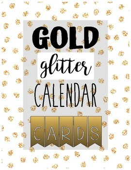CALENDAR CARD SET gold glitter