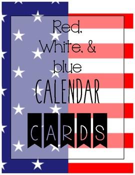 CALENDAR CARD SET red, white, and blue flag