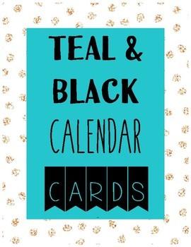 CALENDAR CARD SET teal and black