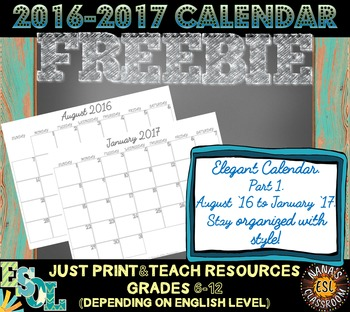 MONTHLY PLANNER: From August 2016 to January 2017 (PART 1)