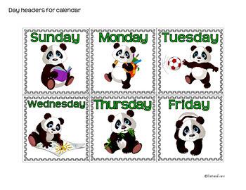 CALENDAR ICONS: Math Center, Panda Decor, Classroom Decor, Green & Black Theme