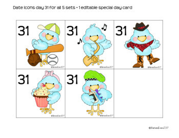CALENDAR MATH: Calendar Icons, Blue/Green Classroom Decor, How Tweet It Is
