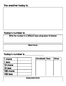 CALENDAR JOURNAL:  DAILY MORNING ACTIVITY FOR EVERY SCHOOL DAY! (GRADES 1 and 2)