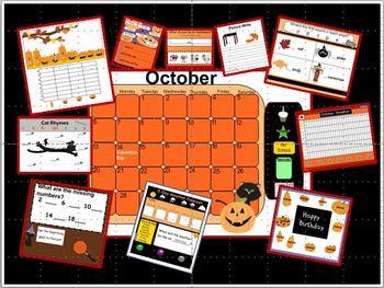 CALENDAR-October SMARTboard Calendar & Activities