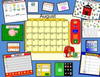 CALENDAR-August SMARTboard Calendar & Activities