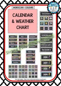 Back To School - CALENDAR & WEATHER CHART - Classroom Decor