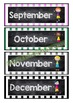 Back To School - CALENDAR WEATHER CHART - Classroom Decor - Stripes