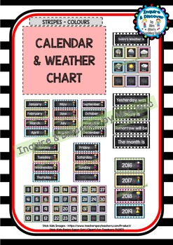 Back To School - CALENDAR WEATHER CHART - Classroom Decor