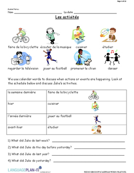 CALENDAR WORDS PRACTICE (FRENCH)