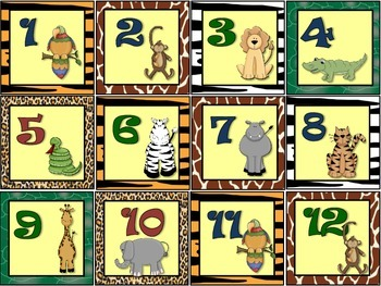 CALENDARIO DE LA JUNGLA O SELVA / SAFARI SPANISH CALENDAR SET