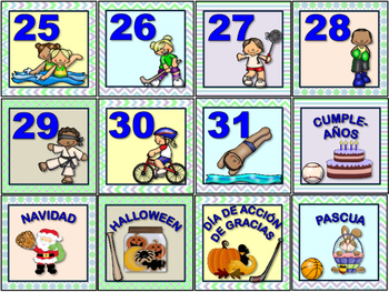 CALENDARIO DEPORTIVO. Sports Calendar Set in Spanish.