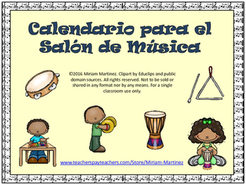 CALENDARIO PARA EL SALON DE MUSICA. Music Calendar Set in Spanish.