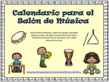 CALENDARIO PARA EL SALON DE MUSICA. Music Calendar Set in