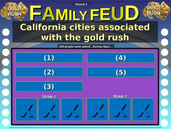 CALIFORNIA GOLD RUSH Family Feud! fun 4th Grade History review game