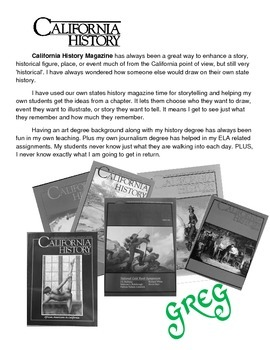 CALIFORNIA HISTORY Magazine Cover assignment