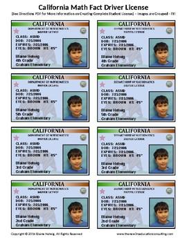 CALIFORNIA Math Fact Incentive Driver License - FREE