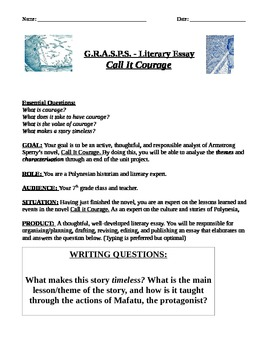 CALL IT COURAGE: Literary Analysis Unit (differentiated/Common Core aligned!)