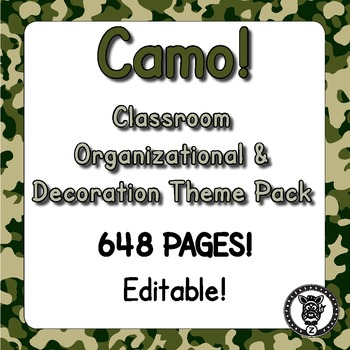 Classroom Theme Decor / Organization - Mega Bundle (Editable!) - CAMO