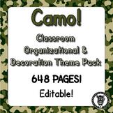 Classroom Theme Decor / Organization - Mega Bundle (Editable!) - CAMO