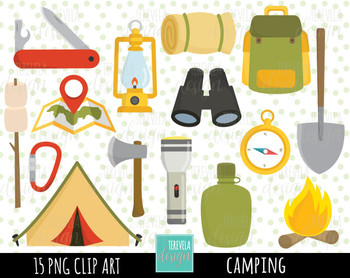 CAMP clipart, camping clipart, commercial use, camping digital clipart, camping