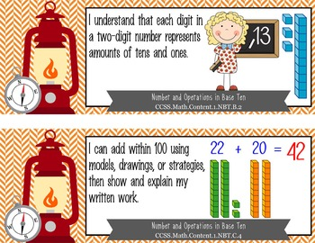 "CAMPING - 1st Grade Common Core Standards ""I CAN"" format / posters"