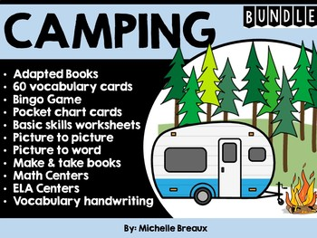 CAMPING BUNDLE--adapted books & activities for a camping theme (SPED Autism)