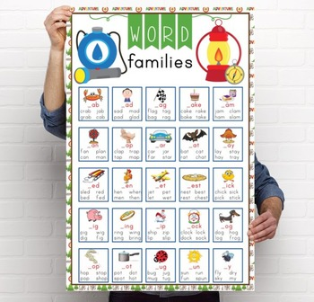 CAMPING - Classroom Decor: Language Arts, Word Families POSTER - size 24 x 36