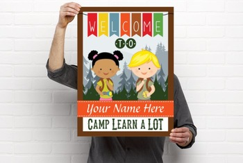 CAMPING - Classroom Decor: WELCOME Poster - 18 x 24, you personalize, Design B