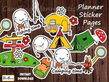 CAMPING Planner Sticker Pages,Printable Happy stickers sheets,Camp routine plan