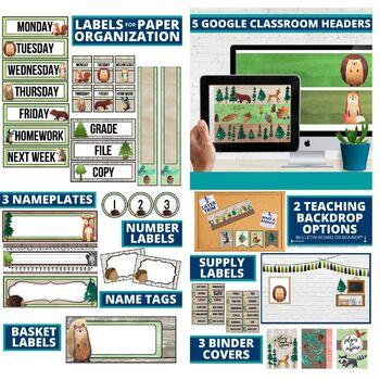 CAMPING THEME Classroom Decor - 3 EDITABLE Clutter-Free Classroom Decor BUNDLE
