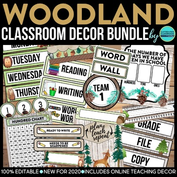 CAMPING THEME Classroom Decor - 3 EDITABLE Clutter-Free Cl