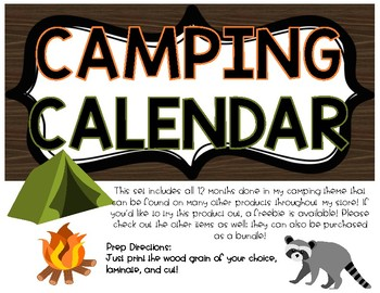 CAMPING THEME CALENDAR SET PRE-MADE & EDITABLE PIECES!