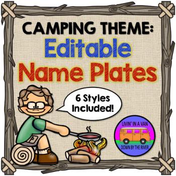 CAMPING THEME: Editable Name Plates