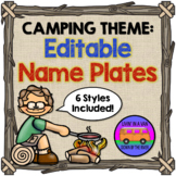 CAMPING THEME: Editable Name Plates