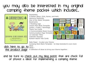 CAMPING THEME NUMBER CARDS/CALENDAR PIECES-classroom theme {printables)